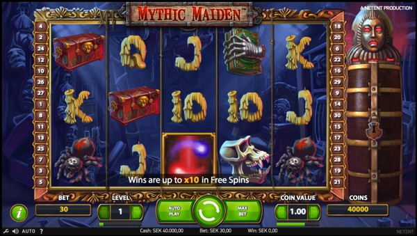 Wilds & scatters in Mythic Maiden slot at Casumo casino.