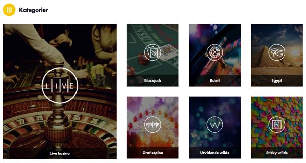 Dunder Casino - Spillkategorier