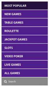 Casino game categories at BGO