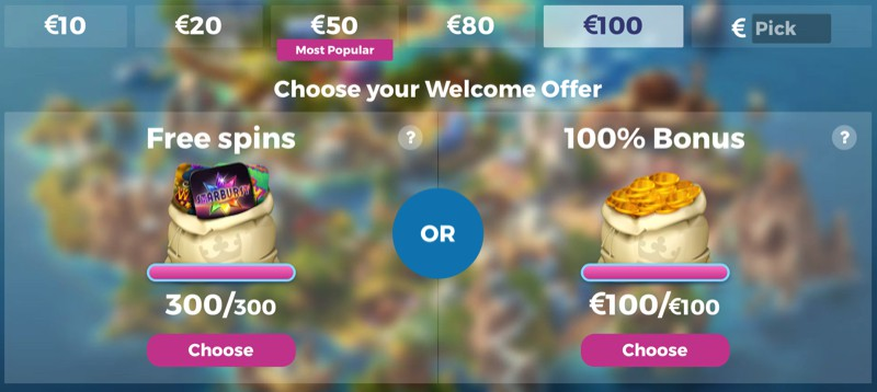 Casino Heroes bonus - Choose your bonus!
