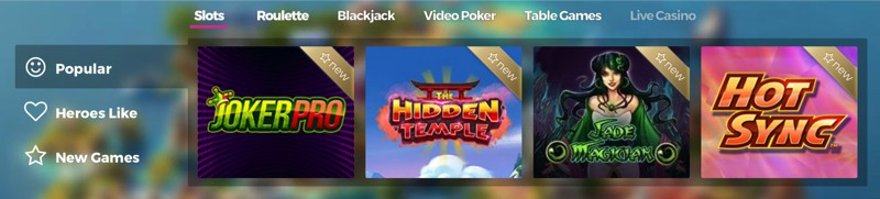 Popular slots at Casino Heroes