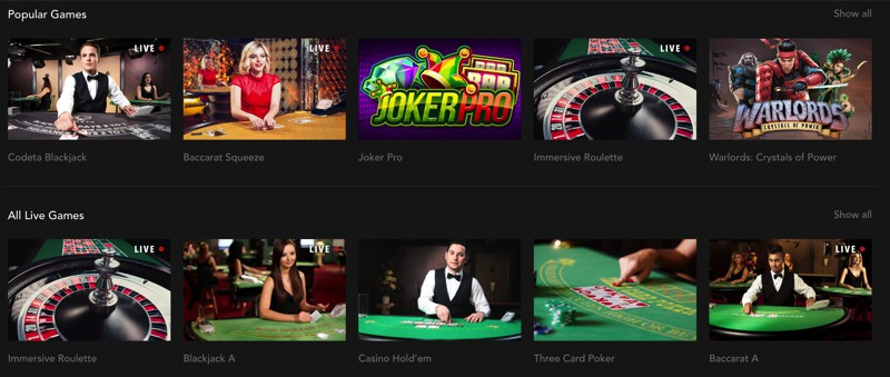 Popular casino games at Codeta