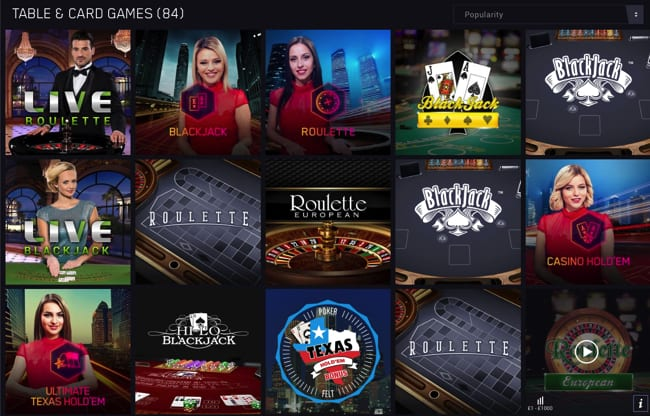 Popular table games at Maria Casino