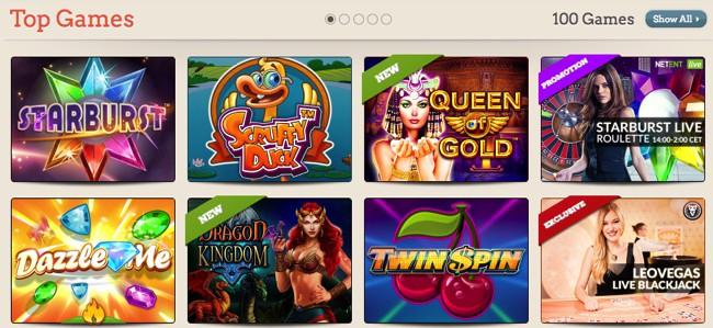 Top Casino games at leovegas