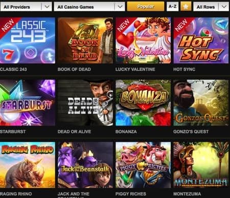 Videoslots popular casino games